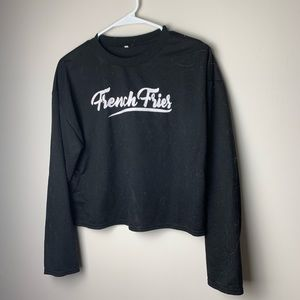 "black ""french fries"" sweater"